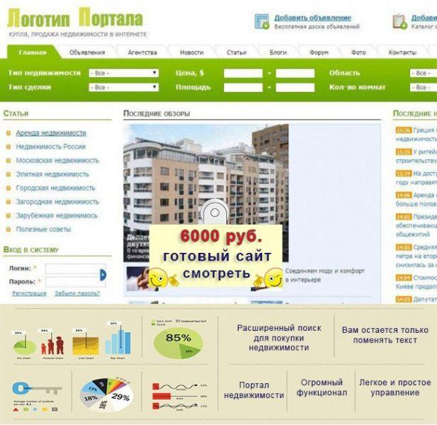 Продам сайт Купля-продажа недвижимости в интернете